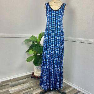 Calvin Klein Women's Dress Sz.4  Maxi Tie Dye Blue